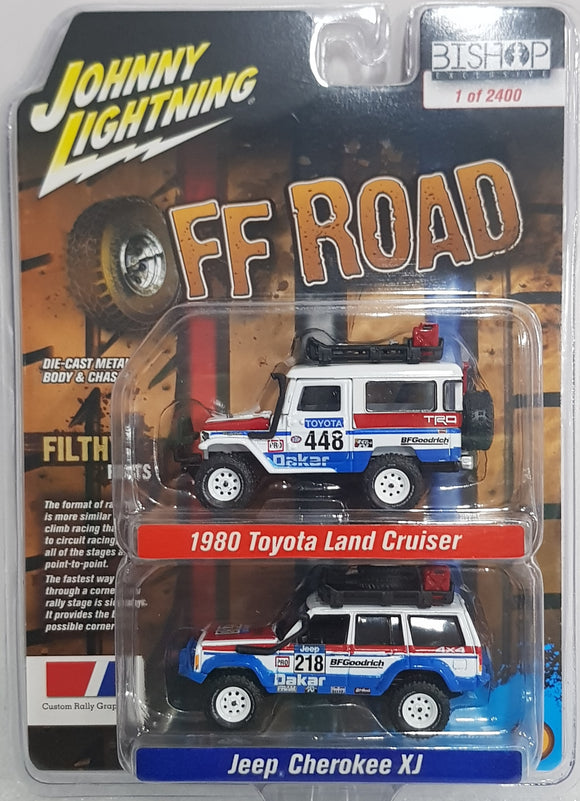 1:64 Johnny Lighting OffRoad Pair - Toyota Land Cruiser / Jeep Cherokee XJ