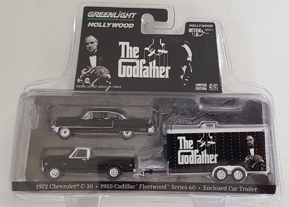 1:64 Greenlight Chevrolet C10 / Cadillac Fleetwood Series with Enclosed Car Trailer - The GodFather