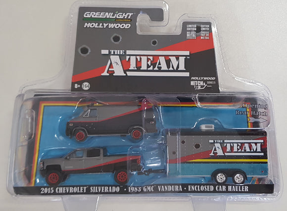 1:64 Greenlight Chevrolet Silverado / GMC Vandura With Enclosed Car Hauler - The A Team
