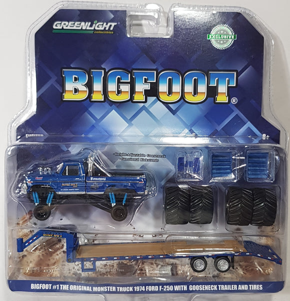 1:64 Greenlight Ford F-250 Monster Truck on Gooseneck Trailer w Regular and Replacement 66