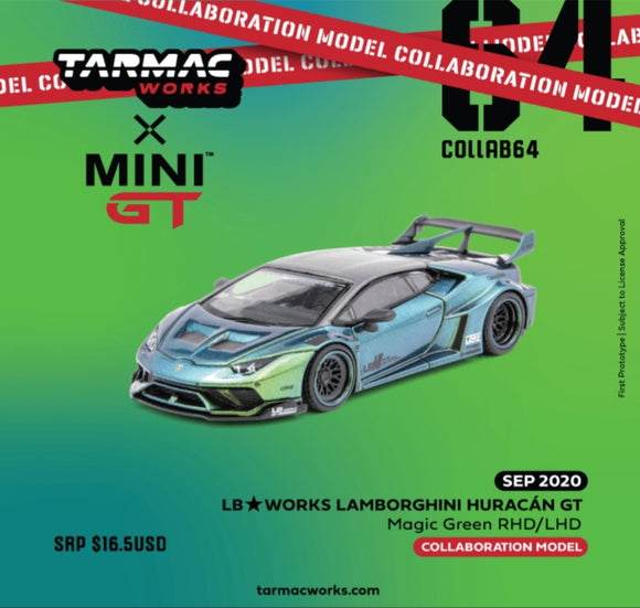 1:64 Tarmac x Mini GT LB Huracan GT RHD - Magic Green