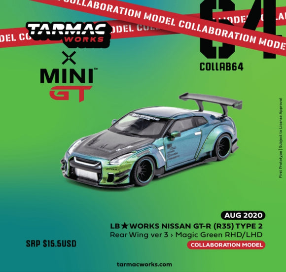 1:64 Tarmac x Mini GT LB Nissan GTR R35 RHD - Magic Green