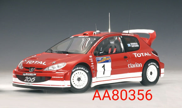 1:18 Autoart Peugeot 206 WRC 2003 M Gronholm / T. Rautiainen #1 Winner of Rally Argentina