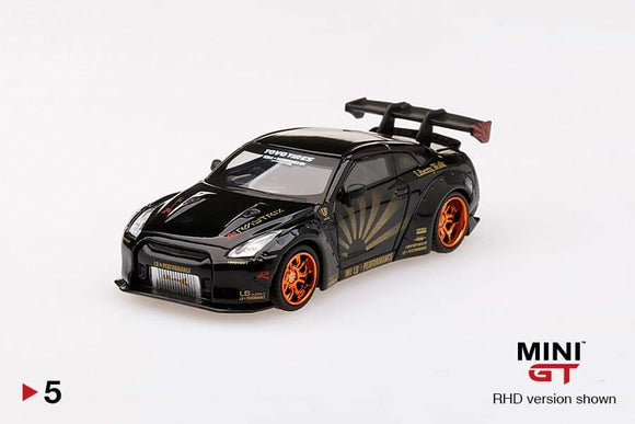 1:64 Mini GT LB Works Nissan GTR R35 Type 1, Rear Wing Ver 1+2 - Black w Copper Wheel #05