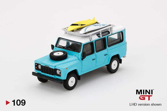 ☆Preorder☆ 1:64 Mini GT Land Rover Defender 110 Light Blue w Surfboard - #109