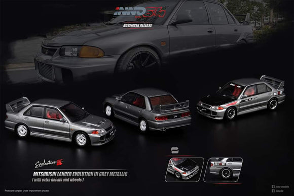 1:64 Inno64 Mitsubishi Lancer Evolution 3 GSR Metallic Grey w Extra Decals and Extra Wheels