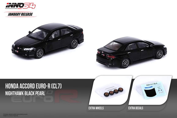 ☆Preorder☆ 1:64 Inno64 Honda Accord Euro R CL7- Nighthawk Black Pearl w Extra Wheels & Decals