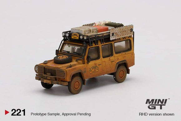 ☆Preorder☆ 1:64 Mini GT Land Rover Defender 110 1989 Camel Trophy Winner Team UK Dirty Version MGT221