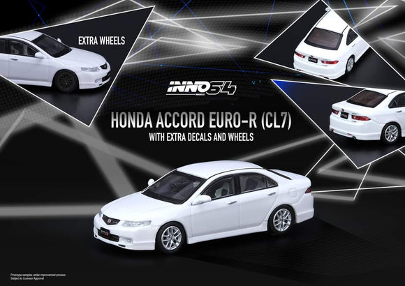 ☆Preorder☆ 1:64 Inno64 Honda Accord Euro R CL7- Premium Pearl White w Extra Wheels & Decals