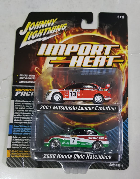 1:64 Johnny Lightning Mitsubishi Lancer Evolution  & Honda Civic Hatchback (2 car pack)