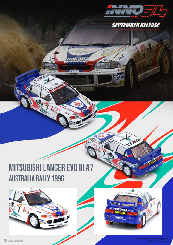 1:64 Inno64 Mitsubishi Lancer Evolution III #7 Australia Rally 1996