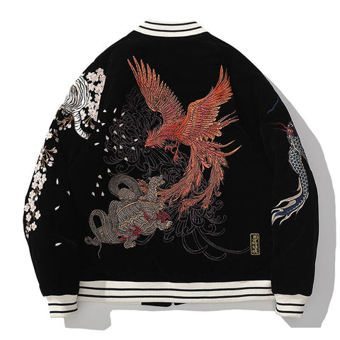 Four Auspicious Beasts Embroidered Sukajan Heavy Jacket - Hype Ninjas