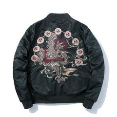 Raijin and Fujin Embroidered Sukajan Bomber Jacket