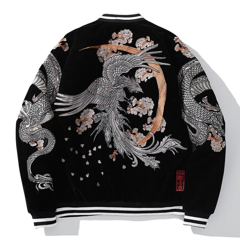 Autumn Suzaku Phoenix Embroidered Sukajan Heavy Jacket - Hype Ninjas