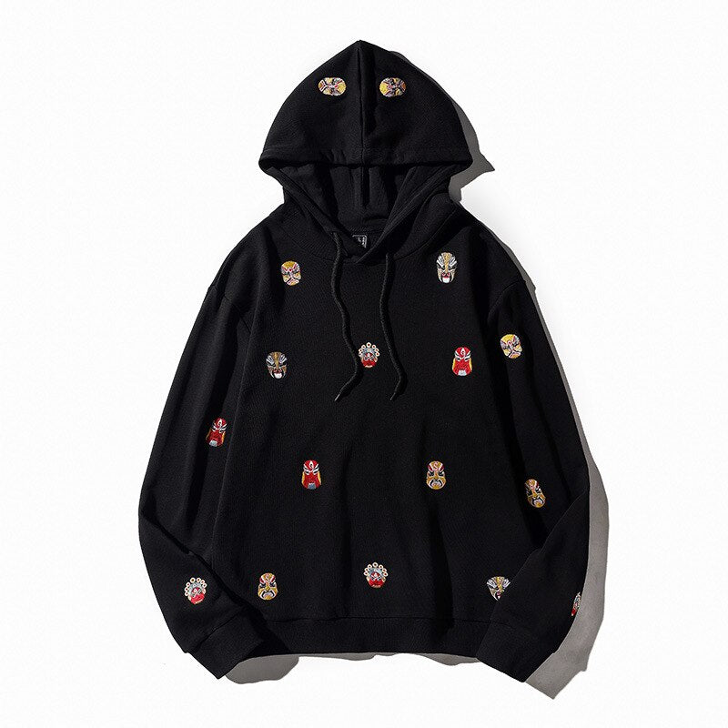 Opera Faces Embroidered Sukajan Hoodie