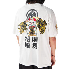 Lucky Cat Embroidered Sukajan T-Shirt
