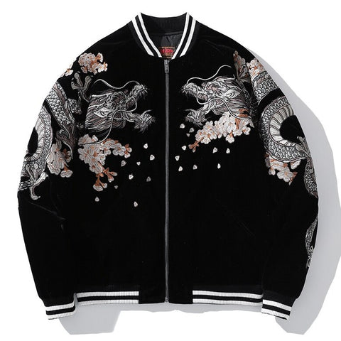 Autumn Dragon Embroidered Sukajan Heavy Jacket - Hype Ninjas