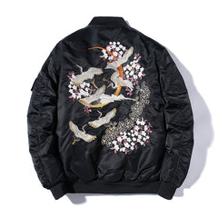Cherry Blossom Cranes Embroidered Sukajan Bomber Jacket