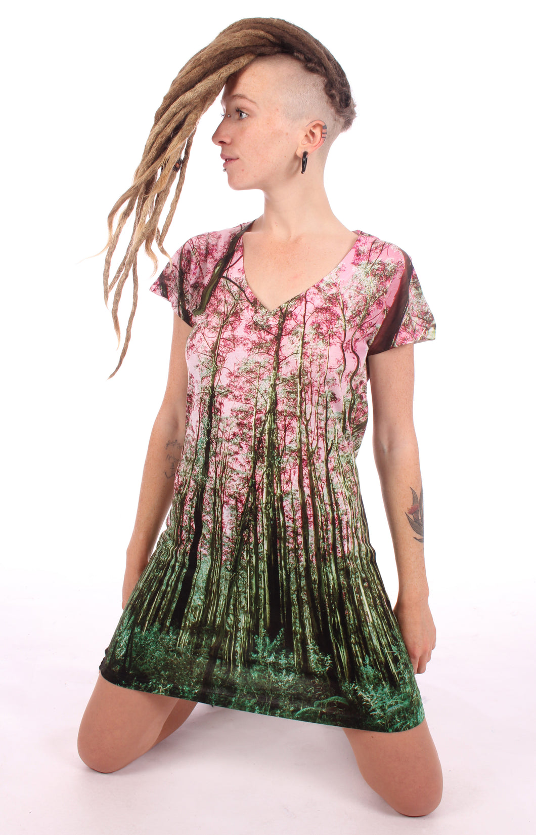 T- Shirt Dress Forest Print#6