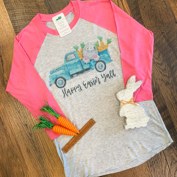 Happy Easter Y'all Truck Raglan {Pink}