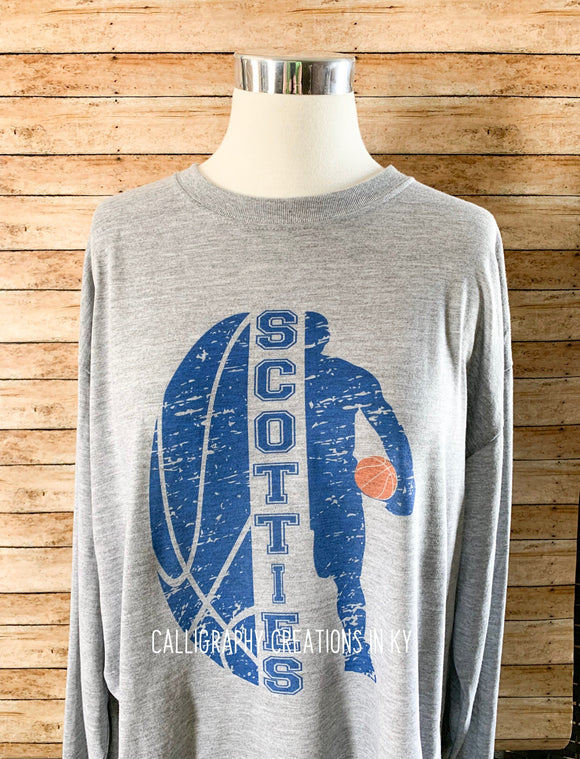 Scotties Basketball Gray Long Sleeve Tee