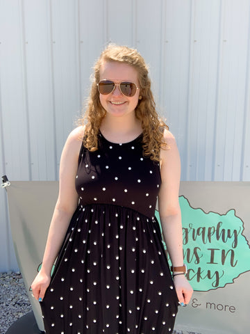 Black Dot Sleeveless Dress
