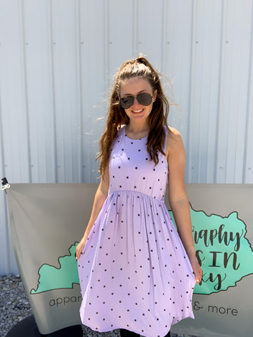 Lilac Dot Sleeveless Dress