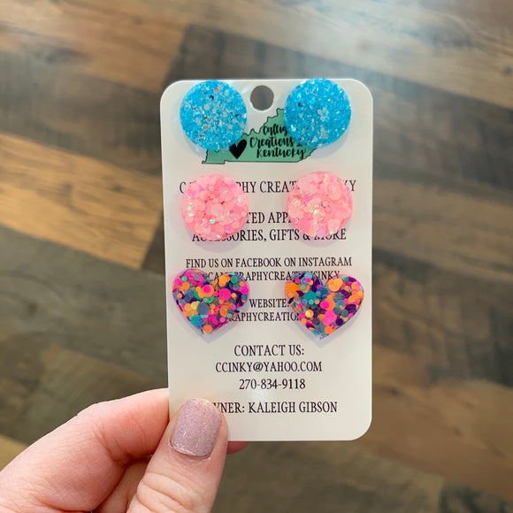 Glitter Stud Earrings (3 pack)