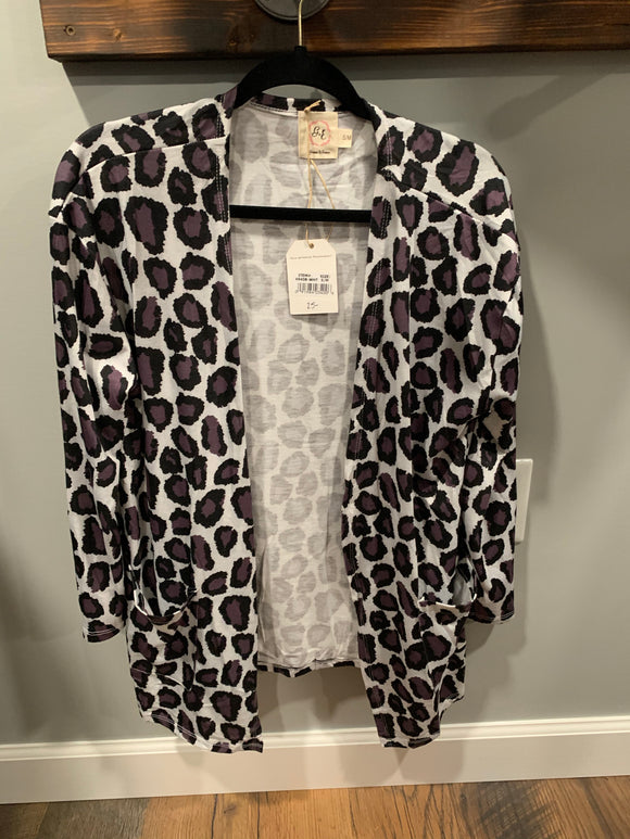 Purple Leopard Cardigan