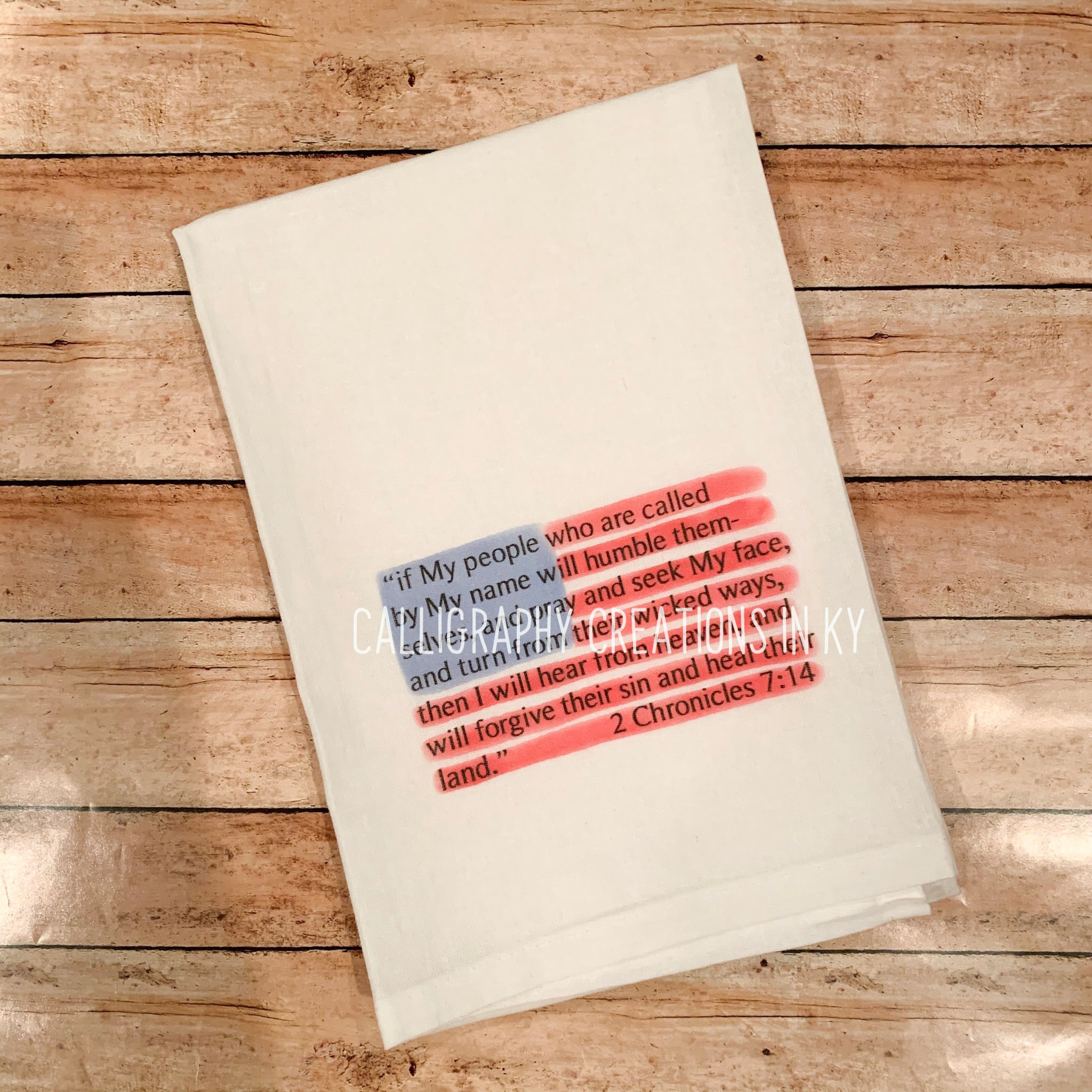 2 Chronicles 7:14 Flag Tea Towel