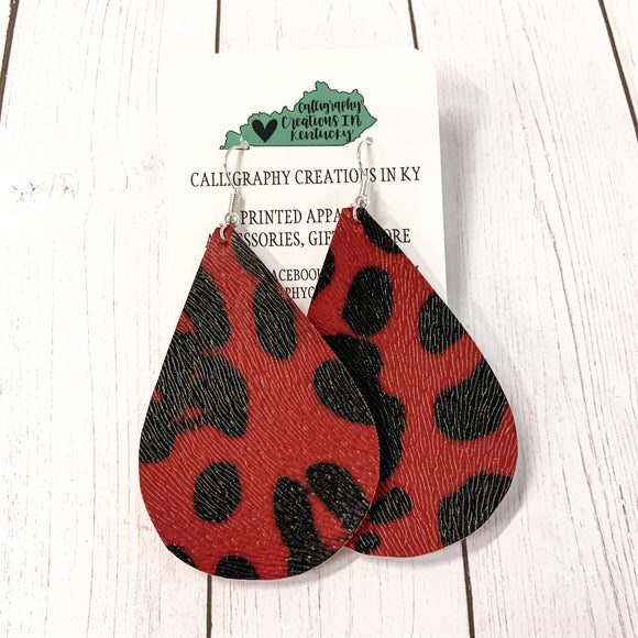 Red/Black Cheetah Print Leather Earrings