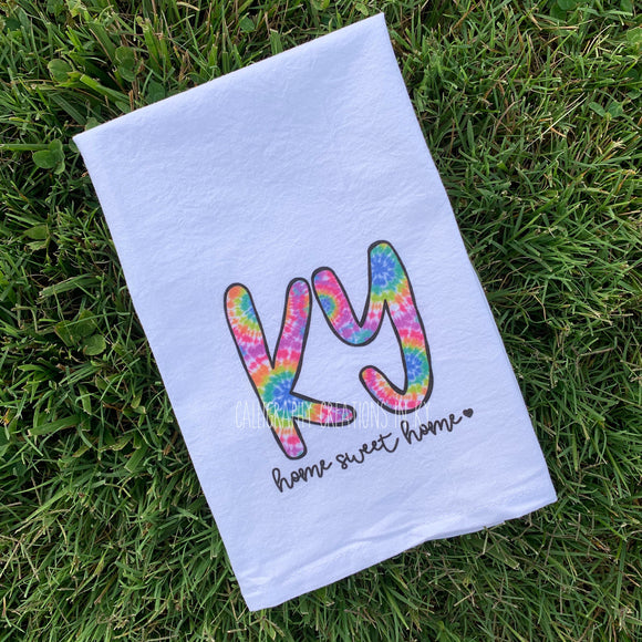 Tie Dye KY Home Sweet Home Tea Towel