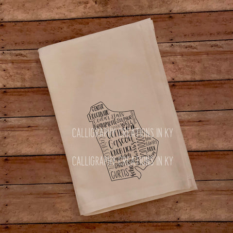 Hand-Lettered Metcalfe Co. KY Tea Towel