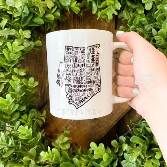 Hand-Lettered Barren Co. KY Mug