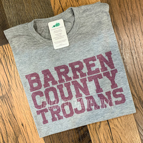 Barren County Trojans Tee - Youth Gray