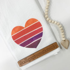 Sunset Heart Tea Towel