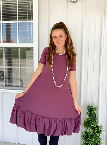 Eggplant Ruffle Dress