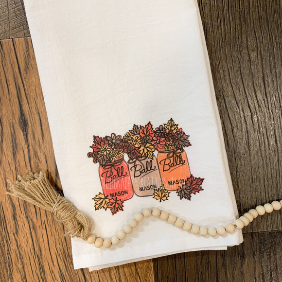 Fall Mason Jars Tea Towel