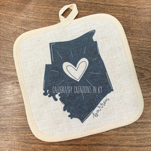 Hand-Drawn Barren County, KY Pot Holder