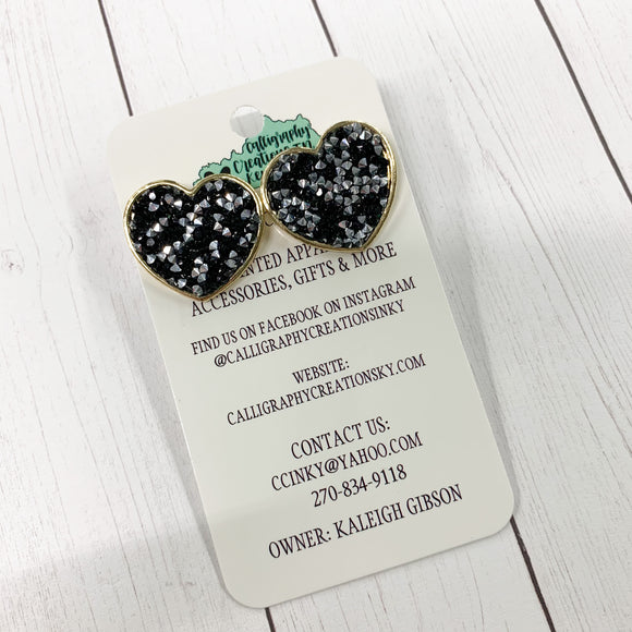 "1"" Heart Stud Earrings"