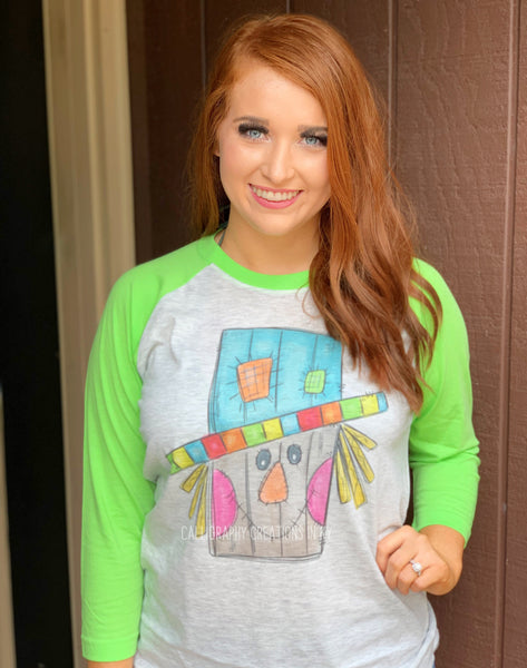 Colorful Scarecrow (Lime Green Raglan)