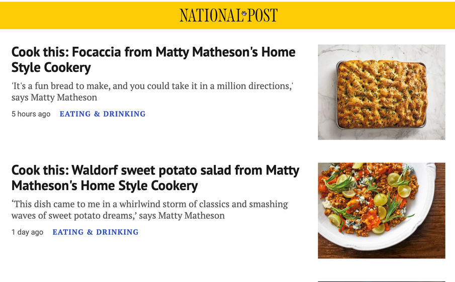 THE NATIONAL POST named Home Style Cookery 'COOKBOOK OF THE WEEK'!!
