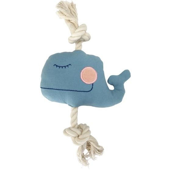 whale natural canvas rope toy