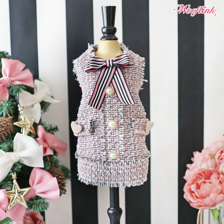 tweed dress in pink
