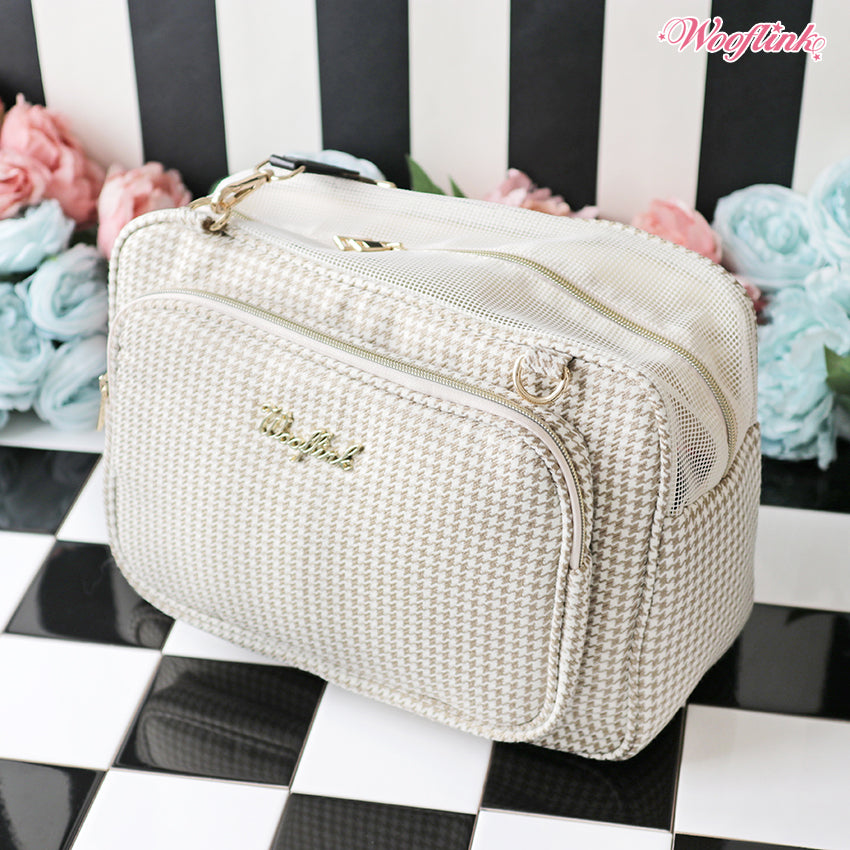 petite houndstooth carrier - beige