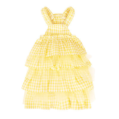 yellow checkered cancan dress