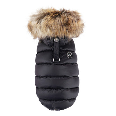 luxe double down vest with faux fur hood - black