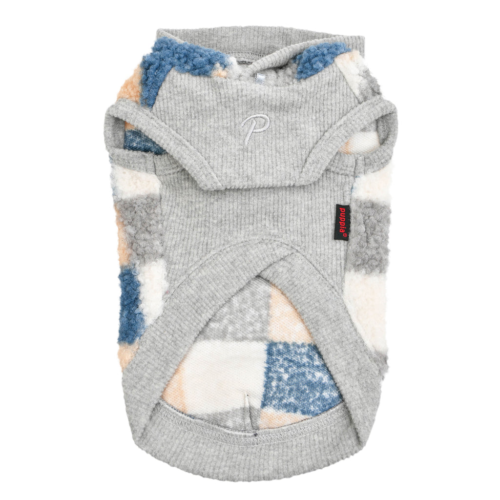 patchwork hooded sweater - blue