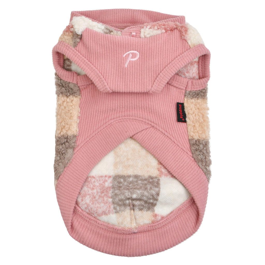 patchwork hooded sweater - pink