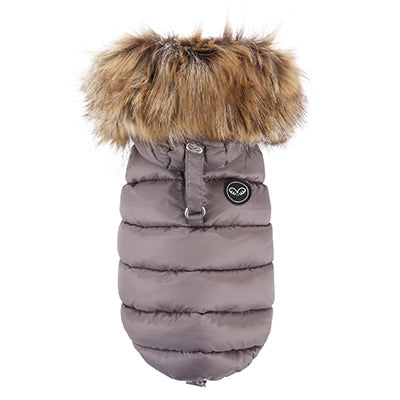 luxe double down vest with faux fur hood - grey